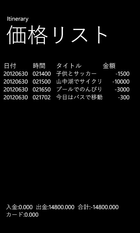 WindowsPhone用Itineraryの価格リスト画面の例です。